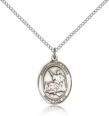 "Sterling Silver St. John Licci Pendant, Sterling Silver Lite Curb Chain, Medium Size Catholic Medal, 3/4"" x 1/2"""