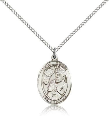 "Sterling Silver St. Edwin Pendant, Sterling Silver Lite Curb Chain, Medium Size Catholic Medal, 3/4"" x 1/2"""