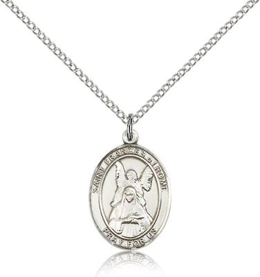"Sterling Silver St. Frances of Rome Pendant, Sterling Silver Lite Curb Chain, Medium Size Catholic Medal, 3/4"" x 1/2"""