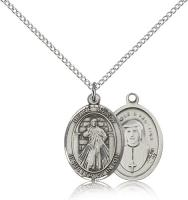 "Sterling Silver Divine Mercy Pendant, SS Lite Curb Chain, Medium Size Catholic Medal, 3/4"" x 1/2"""