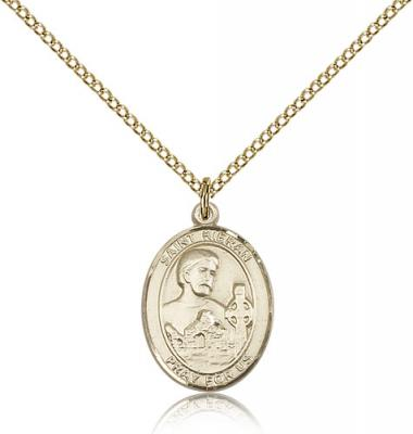 "Gold Filled St. Kieran Pendant, GF Lite Curb Chain, Medium Size Catholic Medal, 3/4"" x 1/2"""