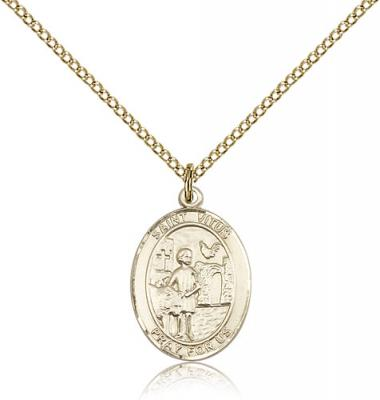 "Gold Filled St. Vitus Pendant, GF Lite Curb Chain, Medium Size Catholic Medal, 3/4"" x 1/2"""