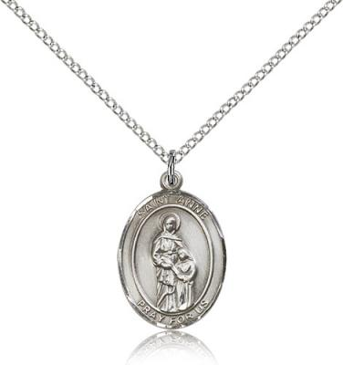 "Sterling Silver St. Anne Pendant, SS Lite Curb Chain, Medium Size Catholic Medal, 3/4"" x 1/2"""