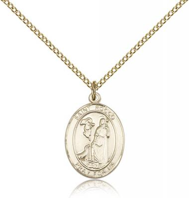 "Gold Filled St. Rocco Pendant, GF Lite Curb Chain, Medium Size Catholic Medal, 3/4"" x 1/2"""