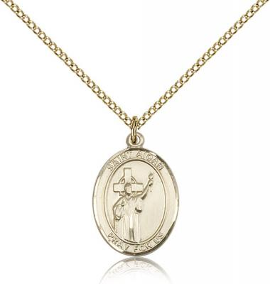 "Gold Filled St. Aidan Of Lindesfarne Pendant, GF Lite Curb Chain, Medium Size Catholic Medal, 3/4"" x 1/2"""