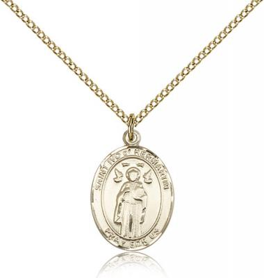 "Gold Filled St. Ivo Pendant, GF Lite Curb Chain, Medium Size Catholic Medal, 3/4"" x 1/2"""