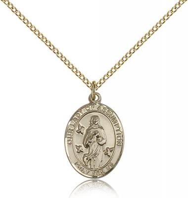"Gold Filled Our Lady of Assumption Pendant, GF Lite Curb Chain, Medium Size Catholic Medal, 3/4"" x 1/2"""