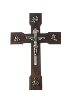 "10"" Walnut ""Passion Of Christ"" Crucifix, Antique Pewter Finish Corpus And Embellishments JC-8846-E"