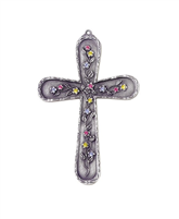 JC-9200-E Pewter Floral Cross