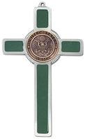 Army Green Enamel Pewter Cross JC9751
