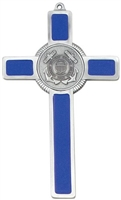 Coast Guard Pewter Blue Enamel Wall Cross