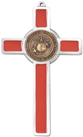 Marine Red Enamel Pewter Cross