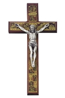 "12"" Walnut ""Stations of the Cross"" Crucifix, Antique Pewter Finish JC1226E"