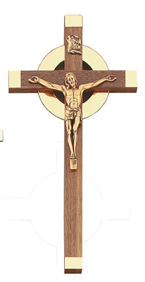 "12"" Walnut Sunburst Crucifix, 5"" Antique Gold Corpus JC-1739-K"