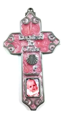 "5"" Pewter Baptism Girl Cross with Photo JC-3210-E"