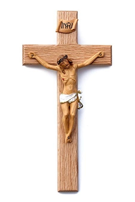 "12"" Oak Crucifix with Hand Painted Natural Corpus JC-5075-N"
