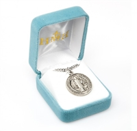 Saint Benedict Round Sterling Silver Medal S168124