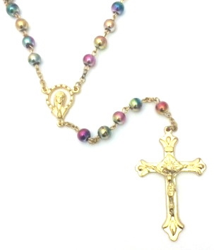 6MM Metallic Pastel Frosted Bead Rosary 131