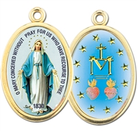 Gold Oval Miraculous Picture Medal 690-253