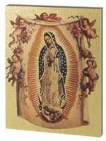OUR LADY OF GUADALUPE LARGE GOLD EMBOSSED PLAQUE 520-221