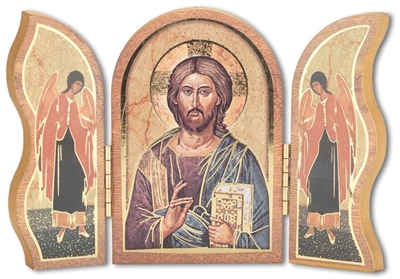 Gold Embossed Wood Christ the Teaching Triptych/Plaque 1205.141