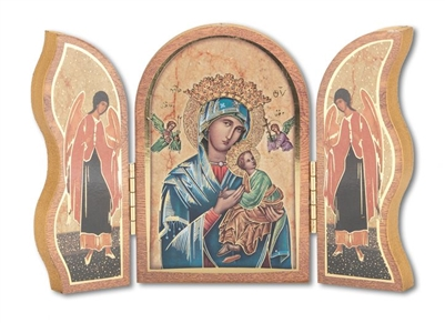 Gold Embossed Wood Our Lady of Perpetual Help Triptych 1205.208