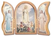 Gold Embossed Wood Our Lady of Fatima Triptych 1205.228