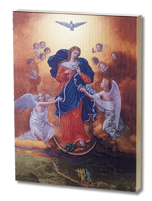OUR LADY UNTIER OF KNOTS LARGE GOLD EMBOSSED PLAQUE 520-906