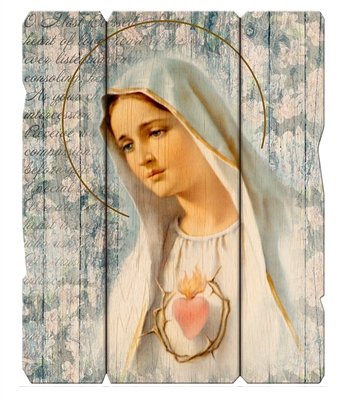 Immaculate Heart of Mary Small Wood Plaque 2548-214