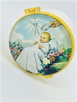 PORCELAIN ROSARY BOX WITH GLASS 5992