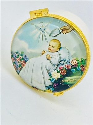 PORCELAIN ROSARY BOX WITH GLASS