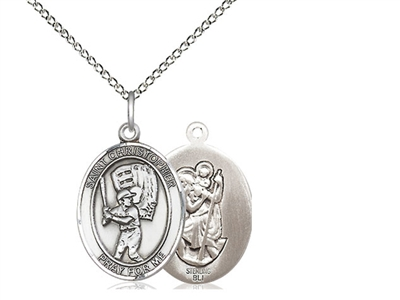 "Sterling Silver St. Christopher/Baseball Pendant, Sterling Silver Lite Curb Chain, Medium Size Catholic Medal, 3/4"" x 1/2"""
