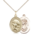 "Gold Filled St. Christpher / Football Pendant, GF Lite Curb Chain, Medium Size Catholic Medal, 3/4"" x 1/2"""