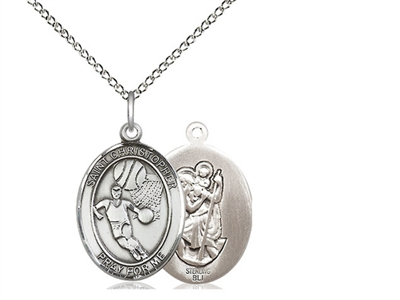 "Sterling Silver St. Christopher/Basketball Pendant, Sterling Silver Lite Curb Chain, Medium Size Catholic Medal, 3/4"" x 1/2"""