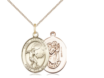 "Gold Filled St. Christopher/Soccer Pendant, GF Lite Curb Chain, Medium Size Catholic Medal, 3/4"" x 1/2"""