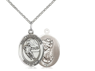 "Sterling Silver St. Christopher/Hockey Pendant, Sterling Silver Lite Curb Chain, Medium Size Catholic Medal, 3/4"" x 1/2"""