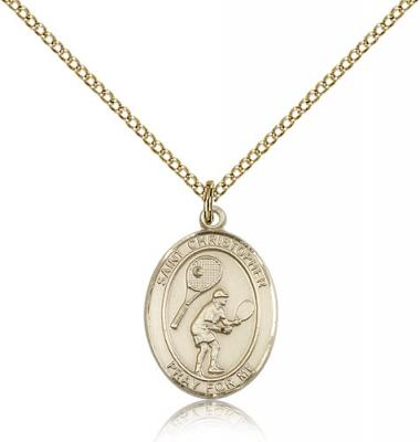 "Gold Filled St. Christopher/Tennis Pendant, GF Lite Curb Chain, Medium Size Catholic Medal, 3/4"" x 1/2"""