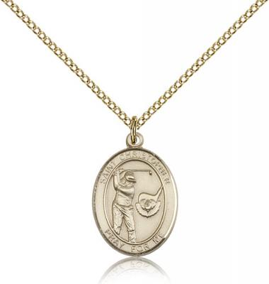 "Gold Filled St. Christopher/Golf Pendant, GF Lite Curb Chain, Medium Size Catholic Medal, 3/4"" x 1/2"""