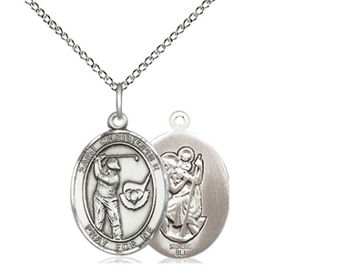 "Sterling Silver St. Christopher/Golf Pendant, Sterling Silver Lite Curb Chain, Medium Size Catholic Medal, 3/4"" x 1/2"""