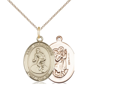 "Gold Filled St. Christopher/Wrestling Pendant, GF Lite Curb Chain, Medium Size Catholic Medal, 3/4"" x 1/2"""
