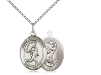 "Sterling Silver St. Christopher/Track&Field Men Pe, Sterling Silver Lite Curb Chain, Medium Size Catholic Medal, 3/4"" x 1/2"""