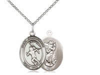 "Sterling Silver St. Christopher/Track&Field Women , Sterling Silver Lite Curb Chain, Medium Size Catholic Medal, 3/4"" x 1/2"""
