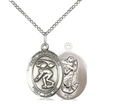 "Sterling Silver St. Christopher/Swimming Pendant, Sterling Silver Lite Curb Chain, Medium Size Catholic Medal, 3/4"" x 1/2"""