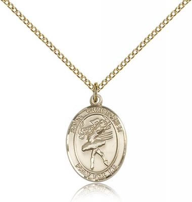 "Gold Filled St Christopher / Dance Pendant, GF Lite Curb Chain, Medium Size Catholic Medal, 3/4"" x 1/2"""