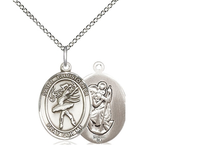 "Sterling Silver St Christopher / Dance Pendant, SS Lite Curb Chain, Medium Size Catholic Medal, 3/4"" x 1/2"""