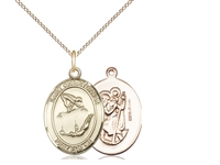 "Gold Filled St Christopher / Gymnastics Pendant, GF Lite Curb Chain, Medium Size Catholic Medal, 3/4"" x 1/2"""
