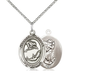 "Sterling Silver St Christopher / Gymnastics Pendan, SS Lite Curb Chain, Medium Size Catholic Medal, 3/4"" x 1/2"""