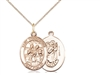 "Gold Filled St Christopher / Choir Pendant, GF Lite Curb Chain, Medium Size Catholic Medal, 3/4"" x 1/2"""