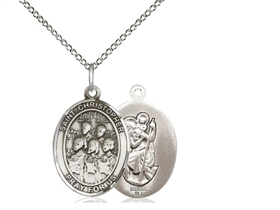 "Sterling Silver St Christopher / Choir Pendant, SS Lite Curb Chain, Medium Size Catholic Medal, 3/4"" x 1/2"""
