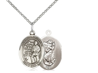 "Sterling Silver St Christopher / Karate Pendant, SS Lite Curb Chain, Medium Size Catholic Medal, 3/4"" x 1/2"""